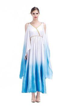 Adult Women V-Neck Barbara Greek Goddess Toga Long Costume Dress Blue Fairy Angel Cosplay Victory Princess Outfit Plus Size XL