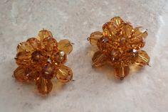 Amber Topaz Earrings Glass Bead Italian Clip On by cutterstone