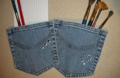 old jeans reuse idea - pocket magnets attach a magnet with a hot glue gun after cutting out the back pocket from some old jeans and stick it on the fridge