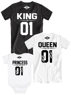 King Queen Princess 01 family set, Matching family tees, King Queen Prince 01 shirts