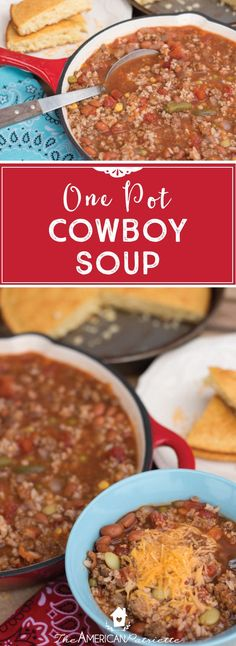 One Pot Cowboy Soup; One Pot Meals; Delicious Soup Recipes One Pot Cowboy Soup; One Pot Meals; Beef Soup Recipes, Healthy Diet Recipes, Cooking Recipes, Crohns Recipes, Tofu Recipes, Lunch Recipes, Mexican Recipes, Casserole Recipes, Chili Recipes