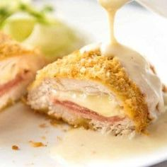 My EASY Chicken Cordon Bleu recipe. All the flavour, all the crunch, healthier a… My EASY Chicken Cordon Bleu recipe. All the flavour, all the crunch, healthier and far easier! Served with an incredible Dijon cream sauce. Easy Chicken Cordon Bleu, Chicken Cordon Blue Sauce, Cordon Bleu Food, Best Chicken Cordon Bleu Recipe, Cordon Bleu Sauce, Le Cordon Bleu, Dijon Cream Sauce, Chicken Ham, Sweets