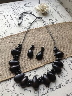Black statement necklace Tagua necklace Big Bold by GalapagosTagua