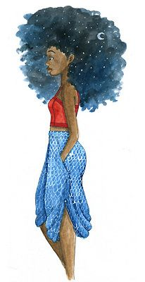 wantthathair: Cotton Hair! fyblackwomenart: Stary Night by Coily And Cute via Tumblr