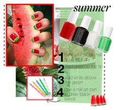 """Watermelon Nails!"" by xgracieeee ❤ liked on Polyvore featuring beauty, Essie, nails, Summer, watermelon and nailtrend"