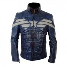 Captain America Blue Leather Jacket with grey Star & Stripes. Made from genuine sheepskin leather. $ 249.99