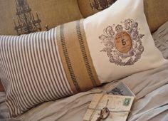 Vintage french token cotton and burlap pillow slip