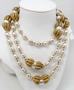 "Vtg Miriam Haskell Baroque Pearl 53"" Necklace Worn ROPE LENGTH, DOUBLED, TRIPLED #MiriamHaskell #StrandString"