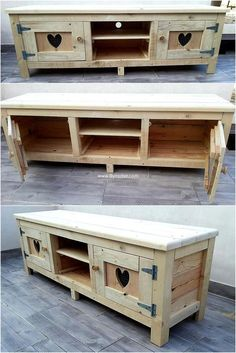 Give your area a natural look by crafting such elegant styled tables. Here these used wood pallets are providing you storage solutions where you can keep your stuff out of harm.