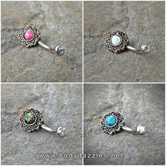 Tribal Glitter Opals Bronze Belly Button Navel Ring Body Jewelry Fits in Navel 14ga Cute Belly Ring Surgical Steel - BodyDazzle - 1