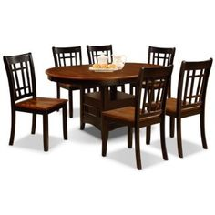 """Dara 7-Piece Dining Package - Rejuvenate your dining space with the striking warmth this Dara dining package brings to your home. Strong rubberwood finished in oak and black tones delivers contemporary style, while the table base, and its convenient shelf, offers practicality. From family meals to larger dinner parties, this table will help you host thanks to its included 18"""" table leaf. Pull up a chair with striking grid detailing and enjoy the perfect union of function and style with the…"""