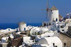 Windmills in Oia, Santorini, Greece