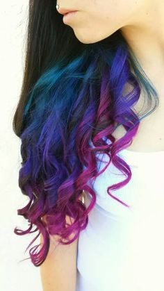 Turquoise blue purple and magenta.