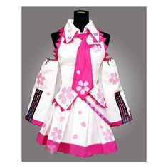 Vocaloid Hatsune Miku Sakura Cosplay Costume ❤ liked on Polyvore featuring costumes, cosplay, cosplay halloween costumes, role play costumes, star costume and cosplay costumes