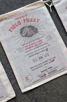 Found on Made to Measure the Blog for Stitch Design Co. Three color letterpress on cloth produce bags. Pretty Cool!