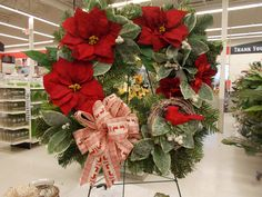 Red Poinsettia Wreath Sherrie NJ Michaels