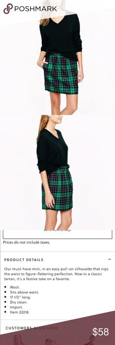 "J. Crew City Mini Skirt We've got your covered for your next holiday party.  J. Crew Mini-Skirt in a festive Dublin Tartan pattern in a size 8. Features an elastic waistband for pull-on style, front pockets, 100% wool exterior, and 100% polyester lining. Length of 17.5"" and waist of 31"" (with more room due to stretch elastic waistband). Size 8. Like-new condition. Retail $98. J. Crew Skirts Mini"