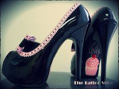 """Faux black patent leather heels with giant bow and pink trim, custom hand painted with Cupcakes & Pinstripes. Painted using extremely durable Stripe & Sign paint. Very high quality and sturdy heels! 5 3/4"""" heel."""
