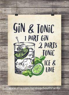 Gin et tonique au citron vert | Illustration de Cocktail imprimable | Bar Decor | Décor de cuisine | Cocktail vodka classique | Imprimable