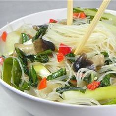 A Chinese stir fry, made with fresh rice noodles, pak choi and shiitake mushrooms. This dish is quick, easy and delicious. Serve for lunch or dinner. Vegetable Stir Fry Noodles, Rice Noodles, Asian Recipes, Healthy Recipes, Ethnic Recipes, Meatless Recipes, Veggie Meals, Delicious Recipes, Easy Recipes