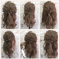 【Today's hair Hair arrangement】 プロセスです☆  1.トップを三つ編みに  2.両サイドを後ろで一つ結び  3.2回くるりんぱします  4.毛先でゴムを隠して  5.毛先を巻いて  6.ほぐして完成☆  ぜひチャレンジしてください☆  #ワンランク上のヘアアレンジ  #大人女子  #ヘアセット#ヘア#髪型#ヘアアレンジ#簡単アレンジ#ロングヘア#ボブ#編み込み#ヘアメイク#ファッション#コーデ#メイク#ネイル#くるりんぱ#ブライダル#結婚式#コーディネート#アクセサリー#bridal#hairmake#ootd#hair#hairarrange#fashion#makeup#beauty#nails