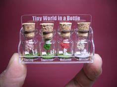 Kleine Bäume mit einem Paar & Familie in vier Jahreszeiten in eine kleine Flasche ver. 3 - neue Design-