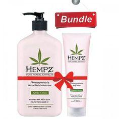 Hempz Pomegranate Herbal Body Wash (9 Oz) And Pomegranate Herbal Body Moisturizer (17 oz) Bundle