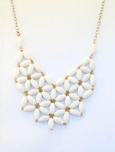 Flower Bib Necklace in Cashmere by WafflesandHoney on Etsy, $28.00