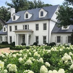 la maison Exterior Inspiration - The Father Of The Bride House - Lauren Nelson Colonial House Exteriors, Colonial Exterior, Design Exterior, Exterior Colors, Classic House Exterior, Colonial House Plans, Modern Colonial, Style At Home, Future House