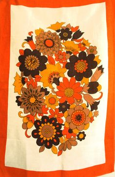 Retro Poppies Daisy Flower Power Tea Towel  Kitsch by FunkyKoala