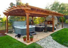 37 Stunning Gazebo Decorating To Make Your Backyard. Install an outdoor gazebo and revel in your backyard like you can't ever have before. If you think that your backyard is too open to curious onlookers. Pergola Patio, Backyard Gazebo, Garden Gazebo, Pergola Canopy, Pergola Plans, Backyard Landscaping, Modern Pergola, Backyard Ideas, Garden Tub
