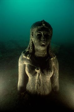 Statue of a Queen found at the site of Heracleion  Black Granite Ptolemaic period.