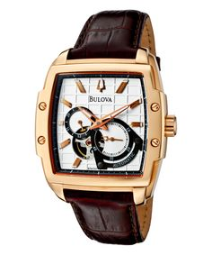Rose Gold & Brown Leather-Strap Chronograph Watch