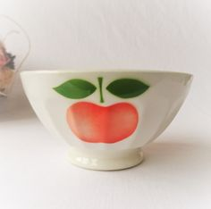 Vintage French 1950s St Clement Cafe Au Lait Bowl With Bright Red Orange Apple