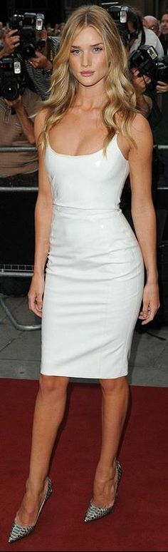 Who made  Rosie Huntington-Whiteley's snake pumps and white pleather dress that she wore in London on September 3, 2013?