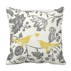 Trendy Yellow Gray Vintage Floral Bird Pattern Pillows zazzle.com