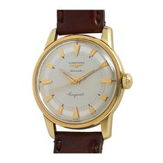 Longines Yellow Gold Conquest Wristwatch circa 1960s | From a unique collection of vintage wrist watches at https://www.1stdibs.com/jewelry/watches/wrist-watches/
