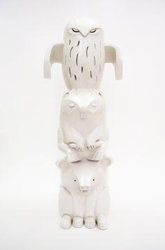 Ceramics, art, totem, sculpture, unique, hand built, bear, beaver, owl. By Aura Kajas, 2013