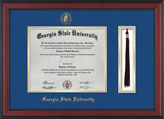 GSU Diploma Frame-Cherry Reverse-w/GSU Seal-Tassel-Royal Blue on Gold mat – Professional Framing Company