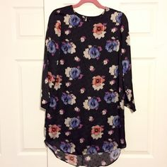 Topshop Floral Polka Dot Shift Dress Lovely long sleeved shift from Topshop. Satiny material, very comfortable. Like new condition aside from some loose threads on the tag. 100% polyester. Topshop Dresses Long Sleeve