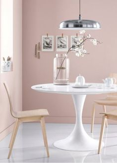 Luminaire Salle à manger. Ideas for the dining area. Interior Pastel, Deco Rose, Pastel House, Modern Dining Chairs, Dining Room Design, Dining Area, Interiores Design, Home And Living, Home Furniture