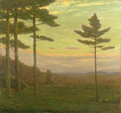 """""""Sentinel Pines,"""" Charles Warren Eaton, 1931, oil on canvas, 28-1/8 x 30-1/8"""" private collection."""