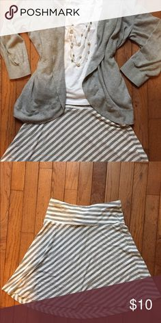 Gray and white striped short skirt. H&M. Super cute and versatile short skirt H&M brand. EUC. H&M Skirts A-Line or Full