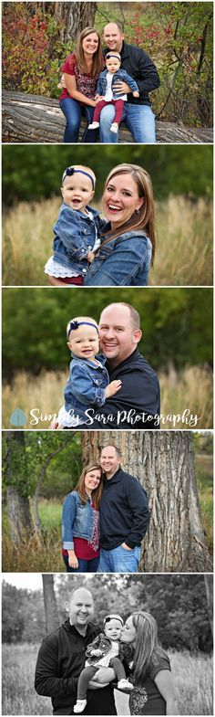 Outdoor Family Photo Ideas & Poses - Mom & Dad with Baby Girl - Grassy Field - Billings, MT Family & Child Photographer