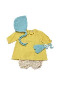 mustard frock with robins egg blue knit bonnet and mittens