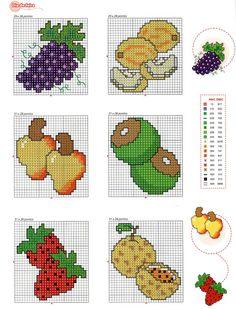 ♥Meus Gráficos De Ponto Cruz♥: Frutas em Ponto Cruz: Barrinhas e Semaninhas