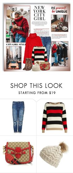 """""""New York City Girl / Street Style / Red Oversized Swaeter"""" by mrswomen ❤ liked on Polyvore featuring H&M, Topshop, MaxMara, Gucci and BP."""
