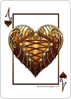 #Steampunk Ace of Hearts #goggledeck - heart in a corset - part of our Steampunk Goggles Playing Cards Deck on #kickstarter https://www.steampunkgoggles.com/product-category/accessories/playing-cards/