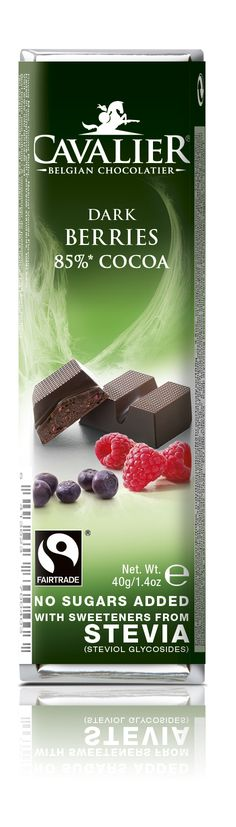 Bar with sweeteners from Stevia, dark chocolate with berries. Cavalier the pioneer in no sugars added chocolate.