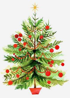 Vintage Christmas Tree with Berries by Margaret Berg